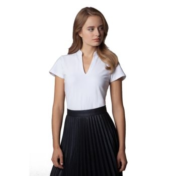 Women's corporate short sleeve top v-neck mandarin collar Thumbnail