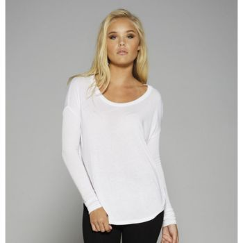 Flowy long sleeve t-shirt with 2x1 sleeves Thumbnail
