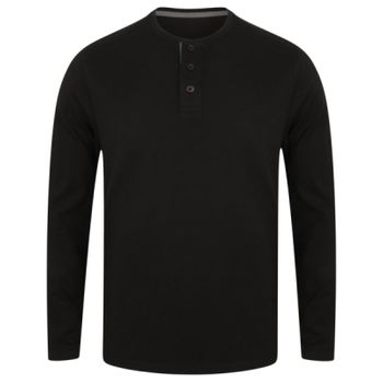 Washed long sleeve Henley T Thumbnail